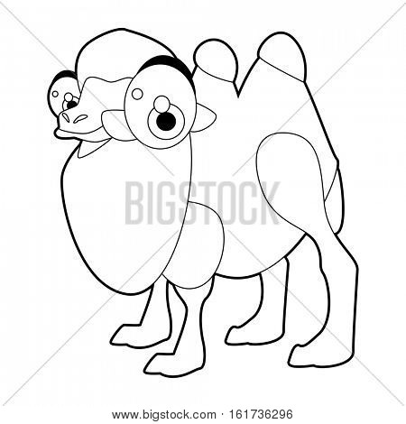 Coloring cute cartoon animals collection. Cool funny illustration of Camel