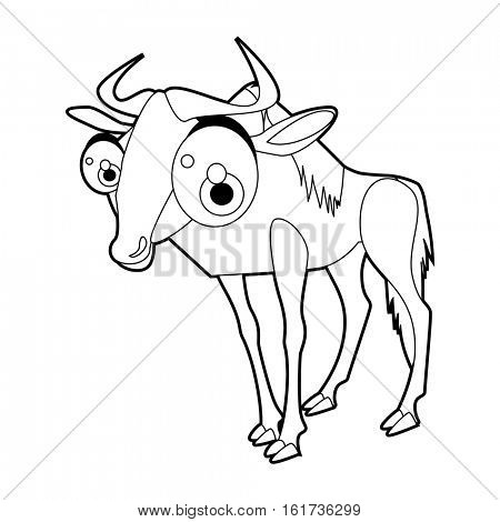 Coloring cute cartoon animals collection. Cool funny illustration of Wildebeest