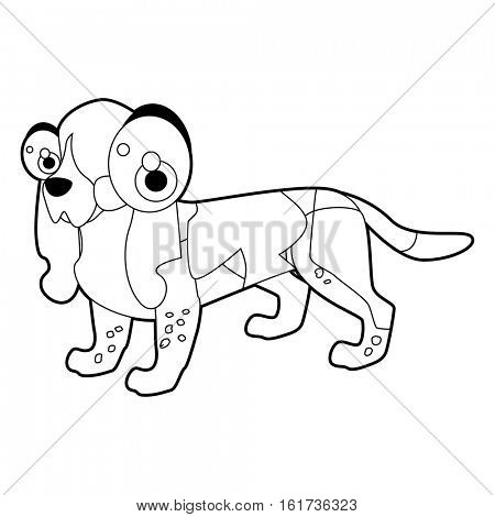 vector funny coloring animal dog breeds character book collection. Cool cute cartoon flat thin line style illustration of Basset