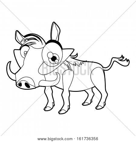 Coloring cute cartoon animals collection. Cool funny illustration of Warthog