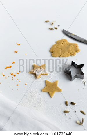 Orange and Cardamom Star Biscuit on White Table