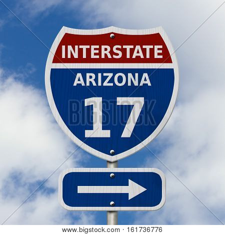 USA Interstate 17 highway sign Red white and blue interstate highway road sign with number 17 with sky background 3D Illustration