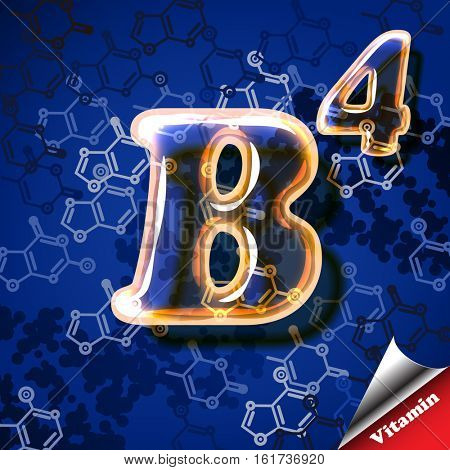 3d vitamin B4 Choline; glass sign with transparency and shadows on the chemical abstract background