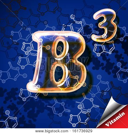 3d vitamin B3 Niacin, glass sign with transparency and shadows on the chemical abstract background