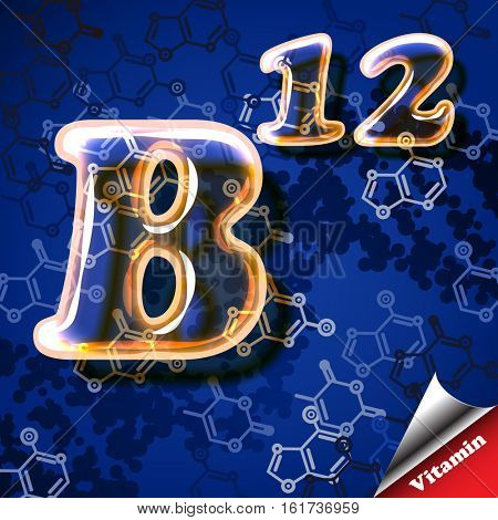 3d vitamin B12 Cobalamins, glass sign with transparency and shadows on the chemical abstract background