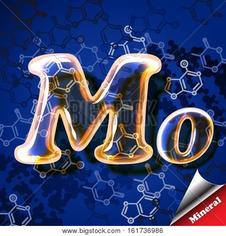 3d mineral Molybdenum, glass sign with transparency and shadows on the chemical abstract background