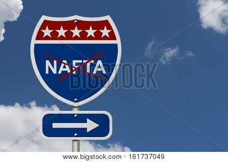 North American Free Trade Agreement sign Red white and blue interstate highway road sign with words NAFTA  3D Illustrationmarked out with sky background