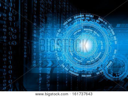 digital technology. Abstract futuristic background with maps, charts and the rings