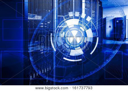 round abstract technical background superimposed on the server data center