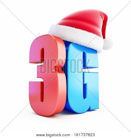 3G sign Santa Hat 3G cellular high speed data wireless connection. 3d Illustrations on white background