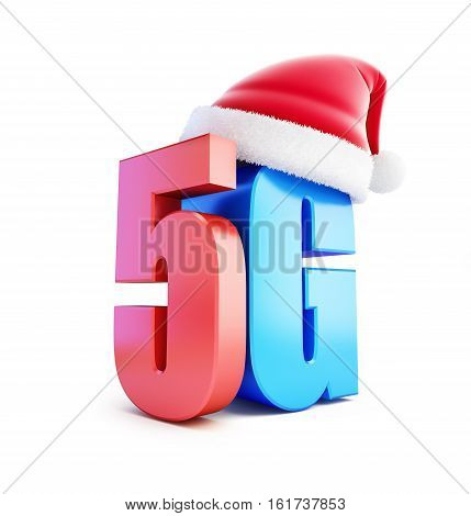 5G sign Santa Hat 5G cellular high speed data wireless connection. 3d Illustrations on white background