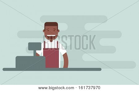 The cashier at the supermarket. Flat character.