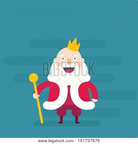 Cartoon king holding golden scepter. Flat character.