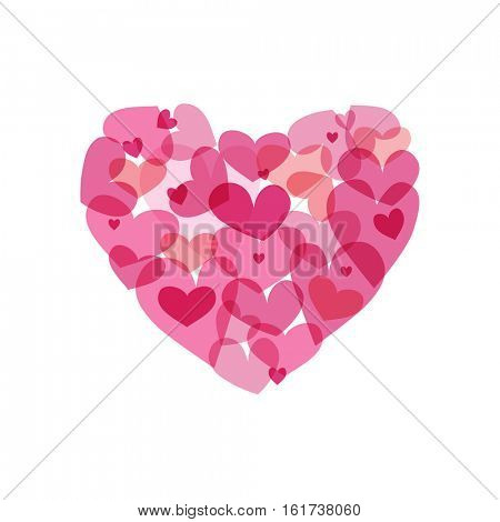 Vector pink heart made from small hearts. Valentines day vector illustration.
