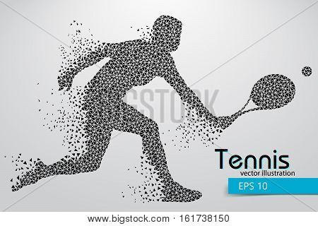 Silhouette of a tennis player from triangles. Text and background on a separate layer, color can be changed in one click. Tennis player