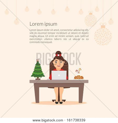 Merry Christmas and Happy New Year decorated workplace office. Christmas illustration. Xmas tree. Cute cartoon character businesswoman. Flat design vector.