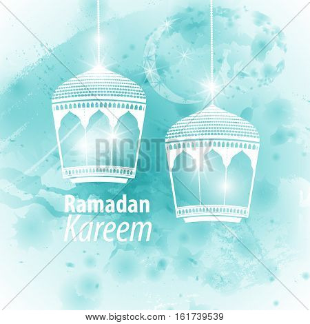 Watercolor light blue blob illustration Ramadan kareem mubarak. Beautiful islamic stylized lantern traditional greeting card wishes holy month and karim muslim. Star and moon with lamp light.