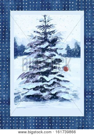 Christmas card with fir tree. Hand drawn illustration snowy fir tree