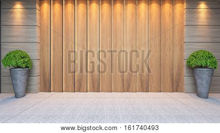 modern wooden panel wall decor design idea with plant and carpet 3d rendering.