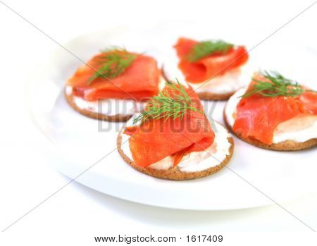 Smoked Salmon With Whole Wheat Crackers And Cream Cheese