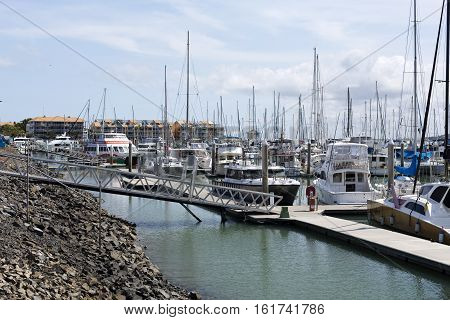 HARVEY BAY, AUSTRALIA - December 6, 2016: View of the Great Sandy Straits Marina located on the Northern end of Urangan harbour in Hervey Bay Australia