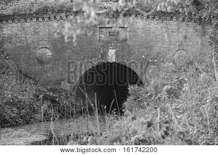 Eastern portal of the Greywell tunnel on the Basingstoke Canal in monochrome