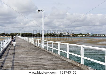 HARVEY BAY, AUSTRALIA - December 6, 2016: View of Harvey Bay seen from the Urangan Pier Queensland Australia