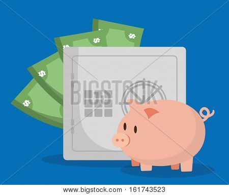piggy bank with banking related icons image vector illustration design