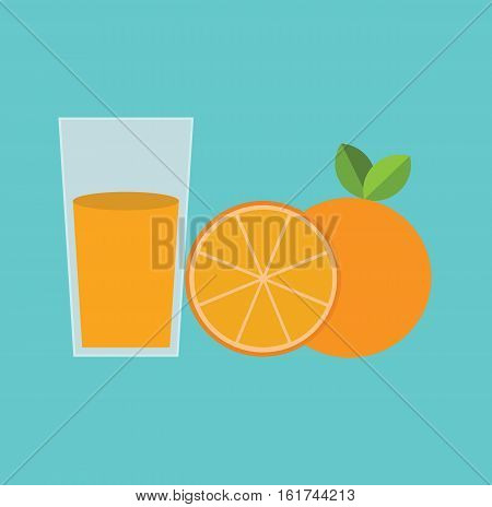 Orange juice breakfast food fruit flat vector stock