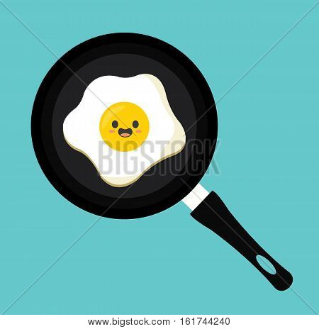 Pan egg kawaii cartoon cute flat design vector stock