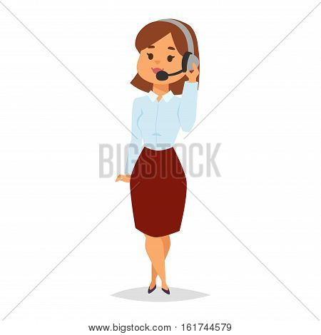 Consultant office professional female adviser girl. Young smiling agent of call center touching microphone businesswoman. Manager consultant woman adviser girl vector character.