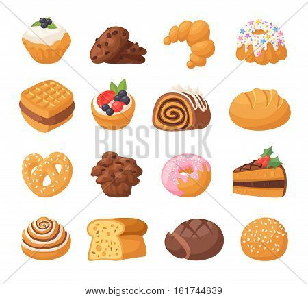 Cookie cakes isolated tasty snack delicious. Chocolate homemade pastry biscuit isolated on white background. Vector set traditional gourmet sweet dessert bakery food.
