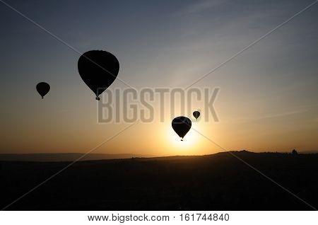 Hot Air Balloon Silhouette Flying Morning Goreme Landscape Cappadocia Turkey