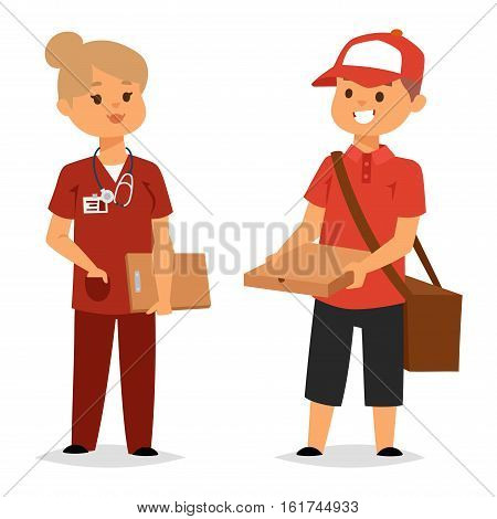 Cool courier characters workers people with equipment with container. Couriers characters cart with cardboard boxes delivery. Shipping logistics service in business and industry vector.