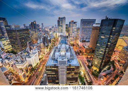 Osaka, Japan Umeda district cityscape at twilight.