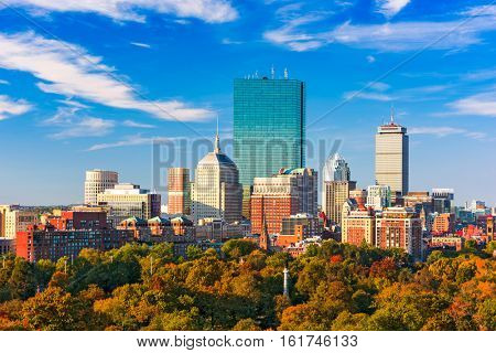 Boston, Massachusetts, USA skyline over Boston Common.