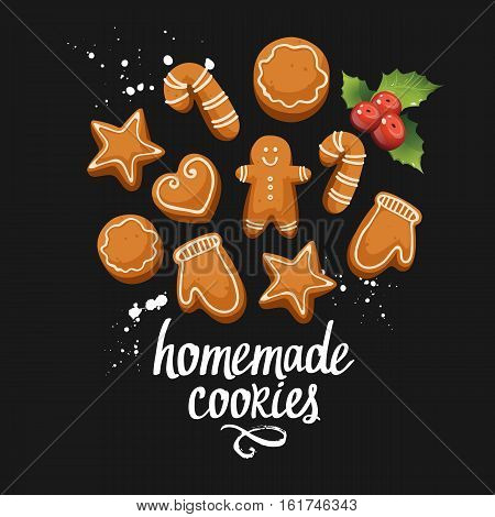Vector illustration to celebrate the new year on black background with holiday homemade ginger cookies. Handwritten inscription. Lettering design.