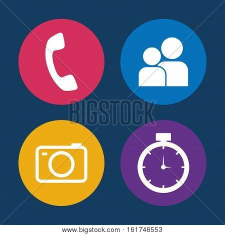 call contacts camera chronometer assorted app buttons icon image vector illustration design