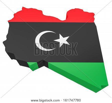 Libyan Flag Map Libya Isolated On White Background 3d illustration