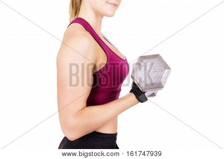 Sporty woman lifting dumbbell isolated on white background