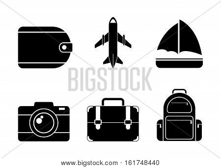 luggage camera boat aiplane travel related icons image vector illustration design