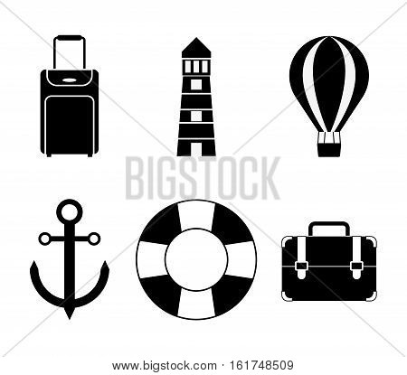 lighthouse life preserver luggage hot air balloon anchor travel related icons image vector illustration design