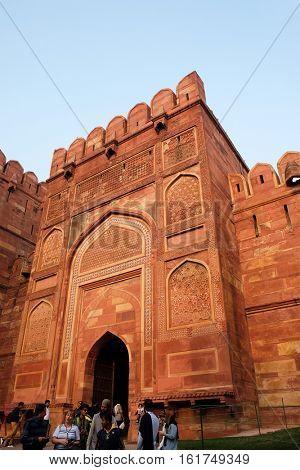 AGRA, INDIA - FEBRUARY 14 : Amar Singh Gate of Agra Fort, UNESCO World heritage site in Agra. Uttar Pradesh, India on February 14, 2016.