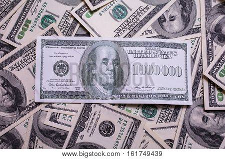 bill of one million dollars a new brilliant idea a million dollars the thirst for wealth success get rich millionaire background of the money background of dollars old hundred-dollar bill face