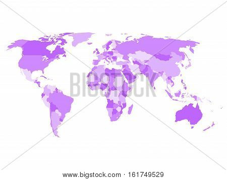 World map with names of sovereign countries and larger dependent territories. Simplified vector map in four shades of violet on white background.