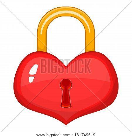 Heart-shaped lock icon. Cartoon illustration of heart-shaped lock vector icon for web design