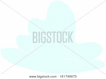 Blue cumulus cloud on a white background.