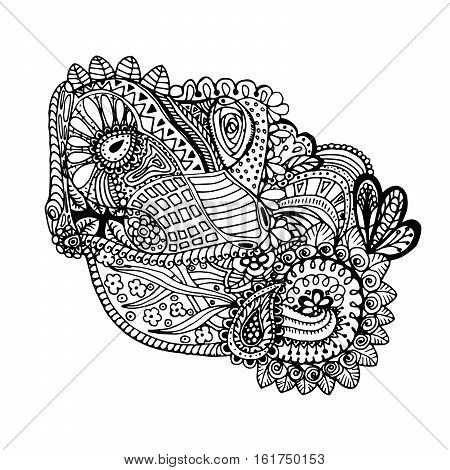 Mono color black line art element for adult coloring book page design.Floral collection. Ethnic zentangle ornament. Vector illustration