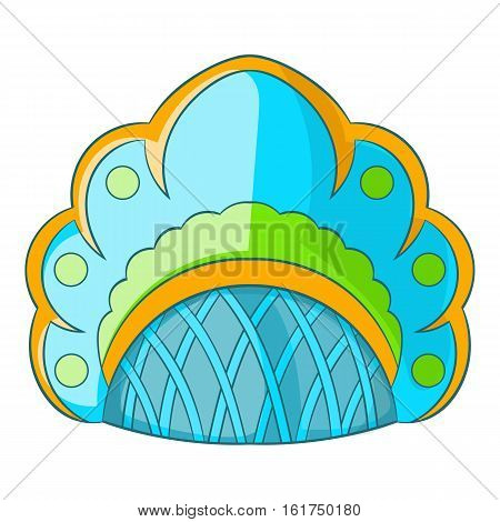 Traditional Russian headdress icon. Cartoon illustration of traditional Russian headdress vector icon for web design