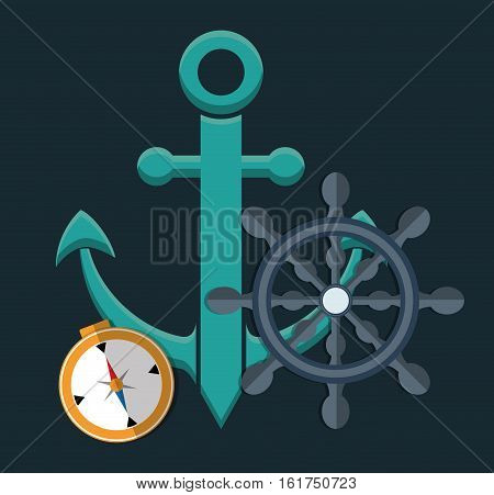 anchor with rudder and compass emblem icon image vector illustration design
